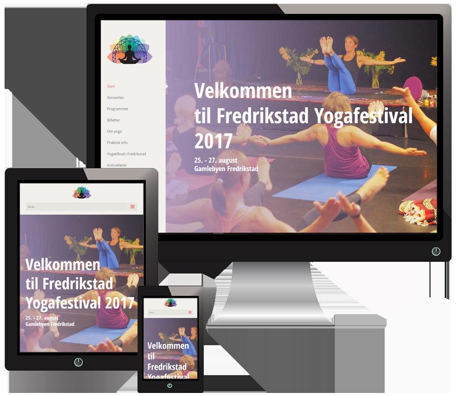 3 skjermer som viser Fredrikstadyogafestival sine nettsider i forskjellige størrelser