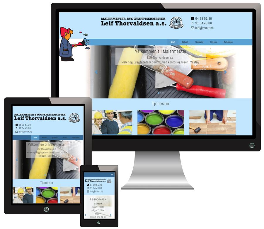 3 skjermer som viser Malermestrene Thorvaldsen og Ludvigsen sine nettsider i forskjellige størrelser