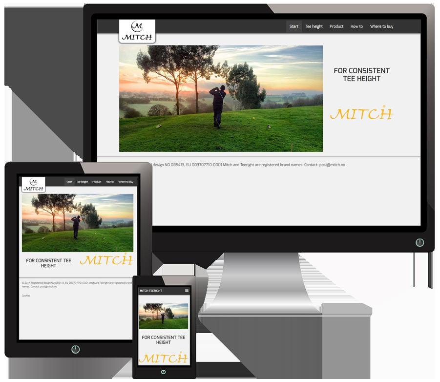 3 skjermer som viser Mitch sine nettsider i forskjellige størrelser