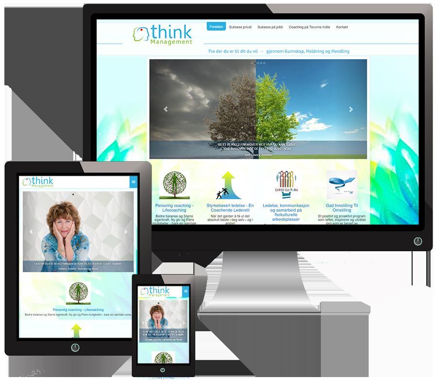 3 skjermer som viser Thinnk management sine nettsider i forskjellige størrelser