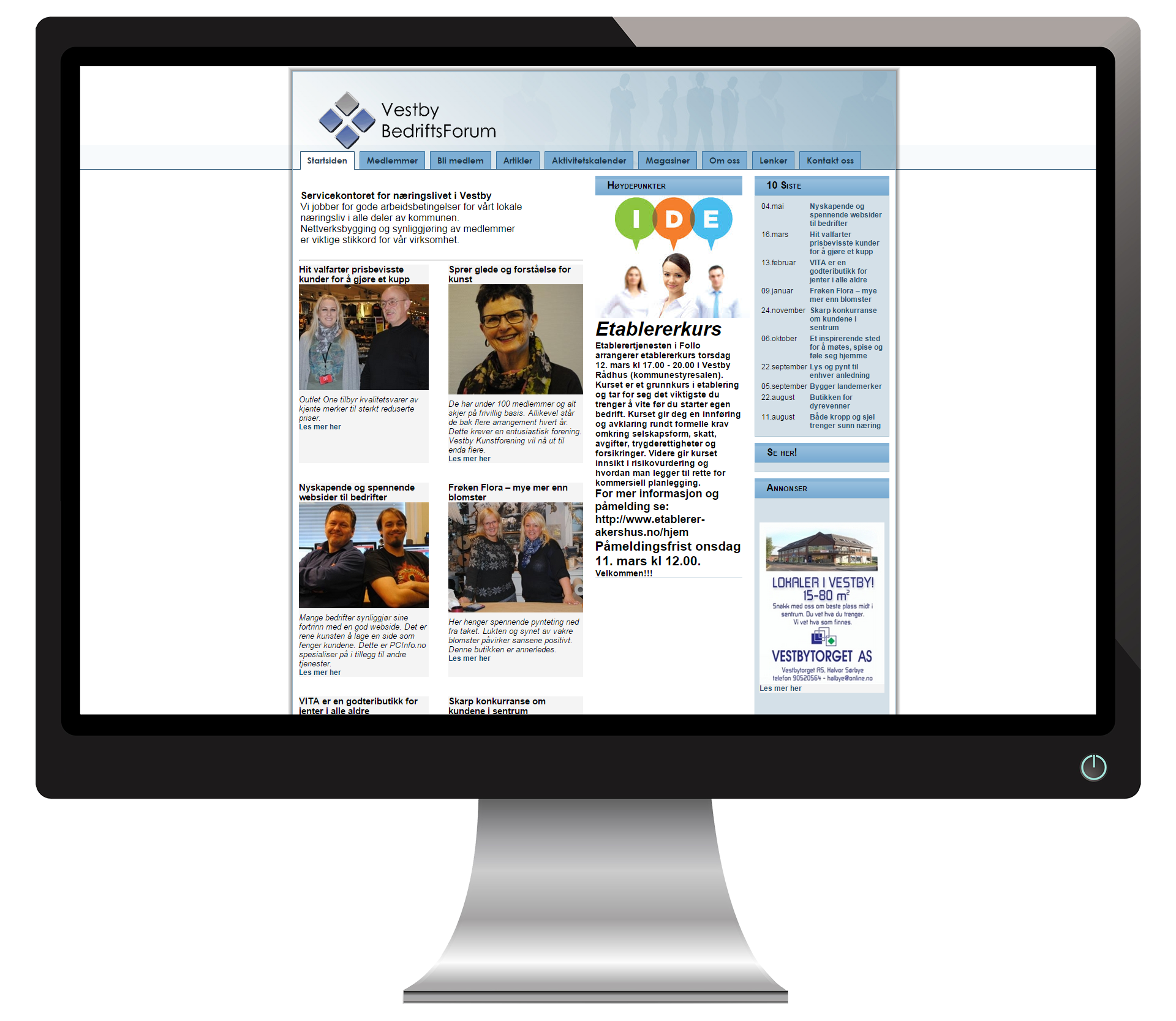 En pc-skjerm som viser nettsidene til VestbyBedriftsForum