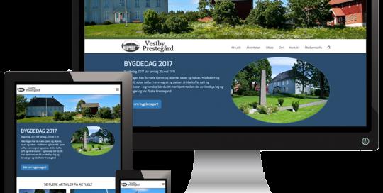 3 skjermer som viser VestbyPrestegaard sine nettsider i forskjellige størrelser
