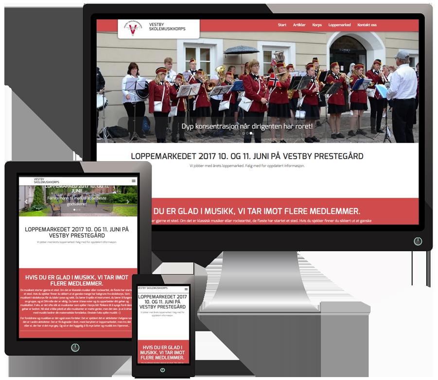 3 skjermer som viser VestbySkolemusikkorps sine nettsider i forskjellige størrelser