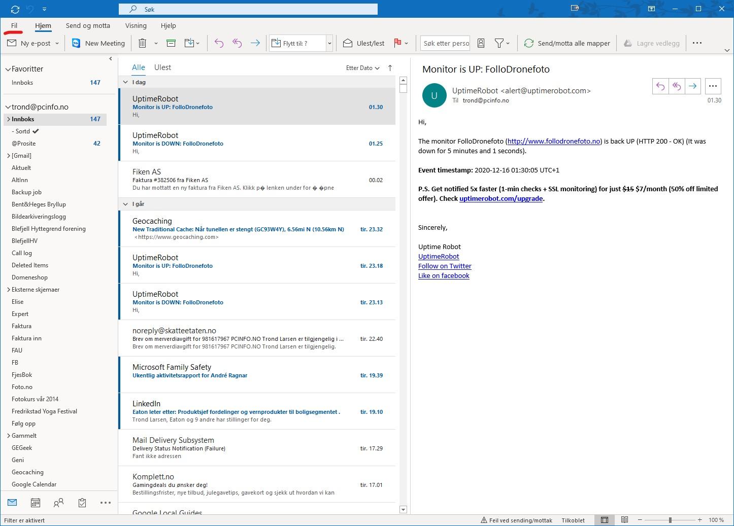 Hvordan sikkerhetskopiere og gjenopprette eposter i Microsoft Outlook