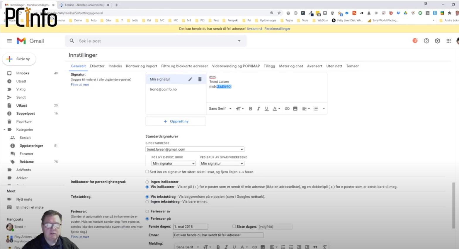 Har du en signatur i Gmail?